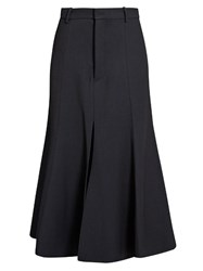 Raey Fit And Flare Twill Midi Skirt Navy