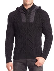 Ralph Lauren Black Label Merino Cable Knit Hooded Pullover Black