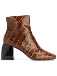 Sportmax 'Sibari' Quilted Ankle Boots Brown