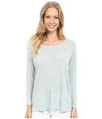 Lilla P Soft Draped 3 4 Sleeve Boat Neck Riverstone Heather Women's Long Sleeve Pullover Blue