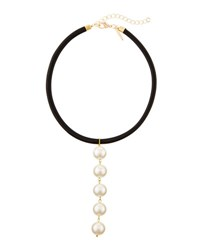 Panacea Linear Faux Leather And Simulated Pearl Choker Necklace Ivory