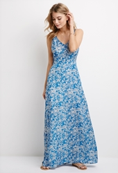 Forever 21 Butterfly Print Maxi Dress Blue Grey