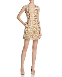 Alice Olivia Patty V Neck Lantern Dress Cream Gold