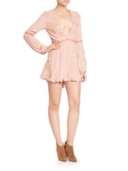 For Love And Lemons Lilou Plunge Floral Romper Dusty Pink