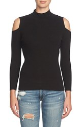 1.State Women's Cold Shoulder Mock Neck Sweater Rich Black