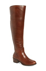 Vince Camuto Women's Bendra Over The Knee Split Shaft Boot Russet Leather Wide Calf
