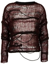 Isabel Benenato Open Knit Jumper Red