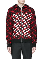Alexander Wang Faire Isle Jacquard Merino Wool Knit Zip Hoodie Red