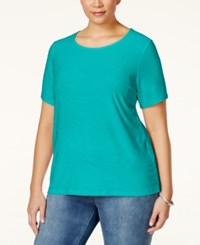 Jm Collection Woman Jm Collection Plus Size Textured Jacquard T Shirt Only At Macy's Urban Aqua