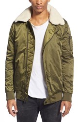 Men's Members Only Satin Bomber Jacket Olive