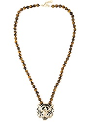 Roberto Cavalli Tiger Eye Beads Necklace Brown