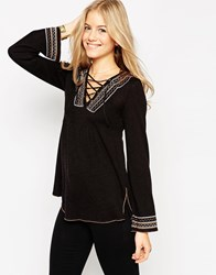 Asos Knit Tunic With Embroidery And Lace Up Detail Black