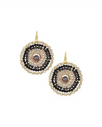Nakamol Crystal And Pearl Circle Earrings Brown Mix