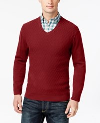 Club Room Big And Tall Diamond Knit Pattern V Neck Sweater Only At Macy's Anthem Red