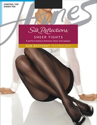 Hanes Silk Reflections Sheer Tights With Control Top Panty Granite