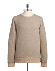 Black Brown Waffle Knit Pullover White