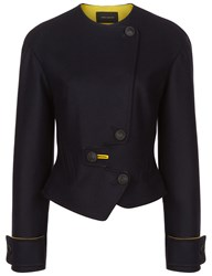 Cedric Charlier Navy Wool Asymmetric Buttoned Jacket