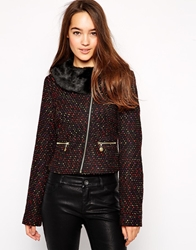 Yumi Snug Jacket With Faux Fur Collar Black