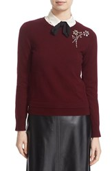 Kate Spade Women's New York Embellished Sweater Midnight Wine