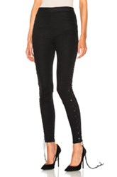 Unravel Side Seam Lace Up Denim Pants In Black