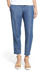 Women's Eileen Fisher Chambray Button Tab Cuff Ankle Pants Denim