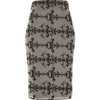 River Island Womens Nude Embroidered Mesh Pencil Skirt