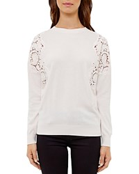 Ted Baker Tae Lace Inset Sweater Nude Pink