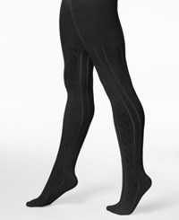 Hue Cable Sweater Tights Black