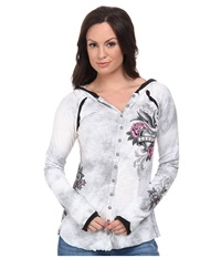 Affliction Honey Babs Long Sleeve Button Down Tee W Hood White Light Grey Crystal Wash Women's Long Sleeve Button Up