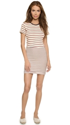Edith A. Miller Combo Mini Dress Natural Red Blue