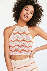 Ecote Crochet Chevron Set Halter Top Neutral Multi