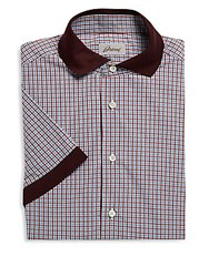 Brioni Short Sleeve Cotton Checkered Dress Shirt Bordeaux