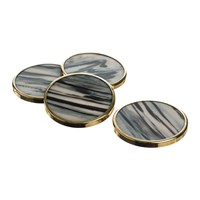 The Just Slate Company Gold Trim Horn Coasters Set Of 4