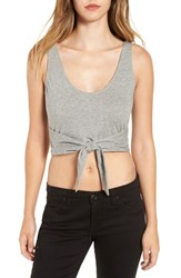 Women's Bp. Tie Front Crop Tank Grey Cloudy Heather