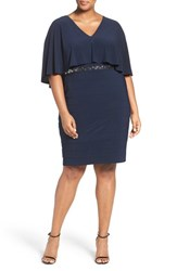 Adrianna Papell Plus Size Women's Embellished Capelet Sheath Dress