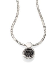 John Hardy Dot Black Sapphire And Sterling Silver Lava Round Pendant Necklace