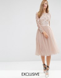 Needle And Thread Embellished Butterfly Midi Dress Petal Pink
