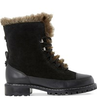 Dune Raleigh Faux Fur Lined Suede Boots Black Leather Mix