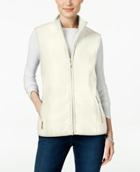 Karen Scott Fleece Zip Front Vest Only At Macy's Eggshell