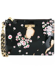 Moschino Floral Burnt Effect Clutch Black