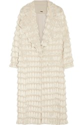 Adam By Adam Lippes Tassel Trimmed Crepe Coat White