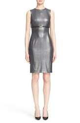 Women's Versace Collection Belted Lame Sheath Dress