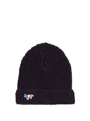 Maison Kitsune Logo Embroidered Ribbed Knit Beanie Hat Navy