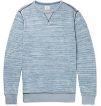 Faherty Melange Cotton Sweatshirt Blue