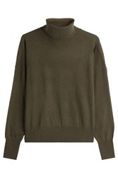 Closed Turtleneck Pullover With Wool And Cashmere Green