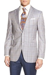 Men's David Donahue Classic Fit Plaid Wool And Silk Sport Coat