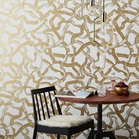 Cb2 Aurora Gold And Ivory Brushstroke Traditional Paste Wallpaper