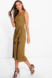 Boohoo Naomi Ribbed Tie Front Culotte Jumpsuit Olive