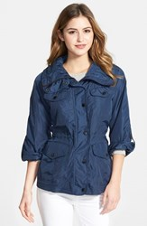 Petite Women's Michael Michael Kors Four Pocket Jacket With Stowaway Hood Navy