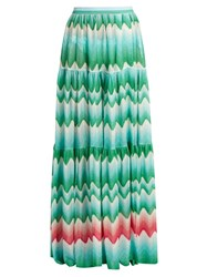 Missoni Mare Zigzag Knit Maxi Skirt Green Multi
